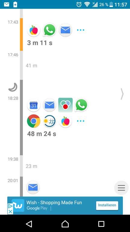 Screenshot Protokoll Quality Time-App